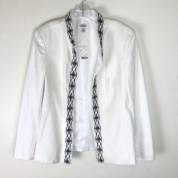 Talbots Jackets & Blazers - TALBOTS Beaded Blazer Jacket Coat Pockets White